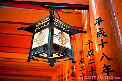 Lantern at Fushimi Inari Torii Kyoto Japan