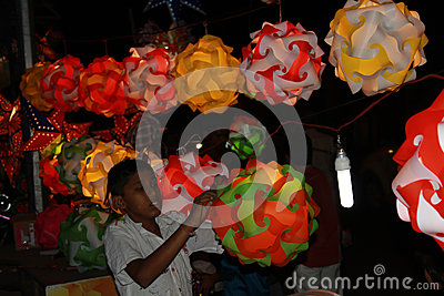 Lantern Kid Editorial Stock Image