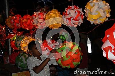 Lantern Kid Editorial Stock Image