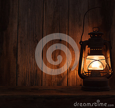 Free Lantern Lamp Light Dark Wooden Wall Table Stock Images - 50927444