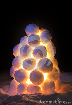 Lantern made of snow