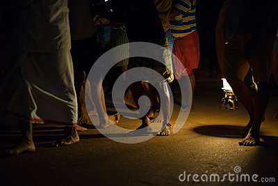 Lantern Night Men Road Pulling Ratha Gokarna Editorial Stock Photo
