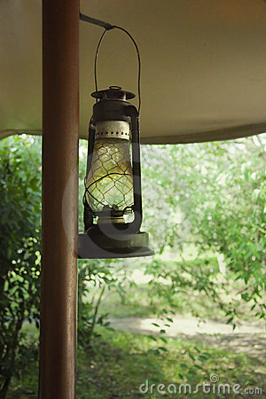Lantern in safari camp