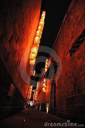 Lanternas vermelhas em um Hutong