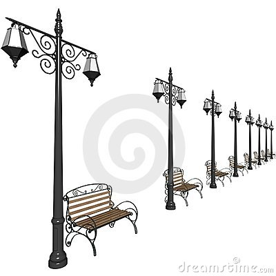 Lanterns and benches