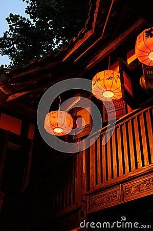 Lanterns of wood building