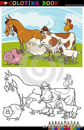 Lantgård- och boskapdjur för färgläggning