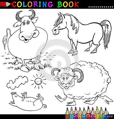 Lantgårddjur för färgläggningbok eller sida