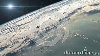 Lanzamiento de Rocket en espacio