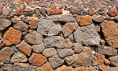 Lanzarote La Guatiza masonry with volcanic stones