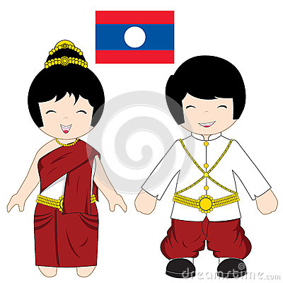Laos traditional costume Vector Illustration