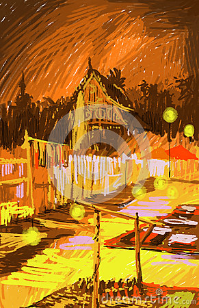 Laos, Vientiane at night colorful illustration