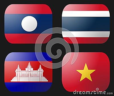 Laos Vietnam Cambodia Thailand Flag