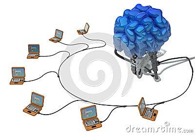 Συνδεμένος με καλώδιο εγκέφαλος, lap-top