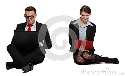 Ζεύγος στα lap-top