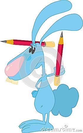 Lapin avec des crayons