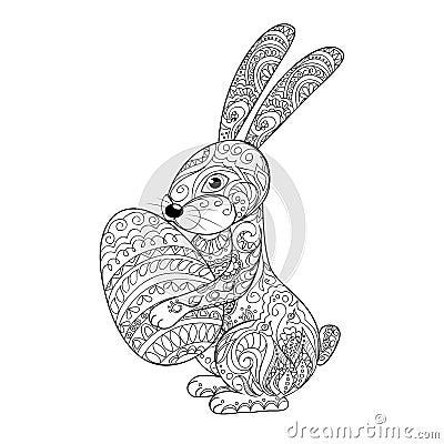 Lapin de bande dessin e avec l 39 oeuf illustration de - Mandala lapin ...