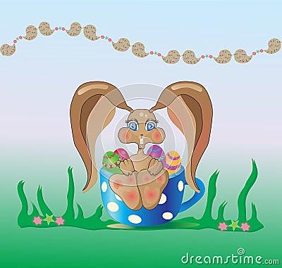 Lapin de Pâques dans une cuvette