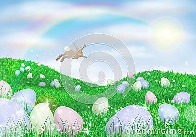 Lapin de Pâques pondant des oeufs