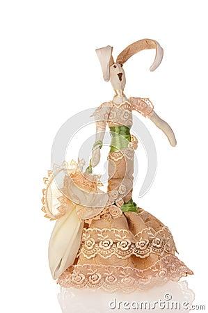 Lapin fabriqué à la main de poupée dans le beige