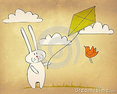 Lapin pilotant un cerf-volant