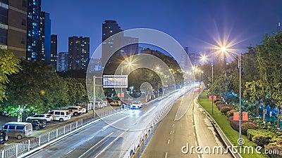 Lapso de tempo do tráfego ocupado na noite em chongqing filme