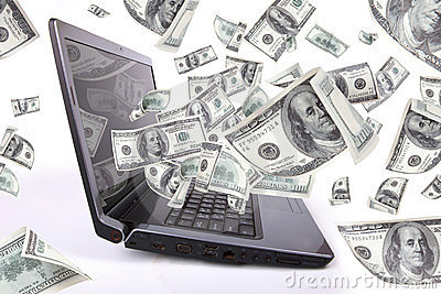 Laptop with 100 Dollars, Earn Money