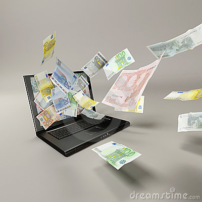 Laptop and banknotes