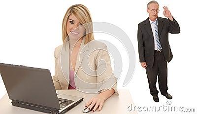 Laptop Blond and Senior Executive
