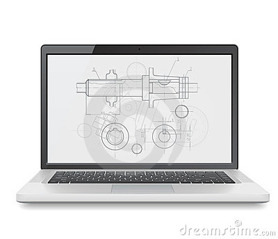 Laptop with blueprint