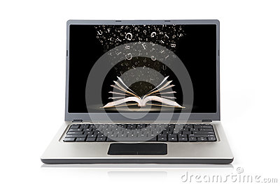 Laptop with book wallpaper isolated on white
