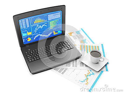 Laptop with business charts