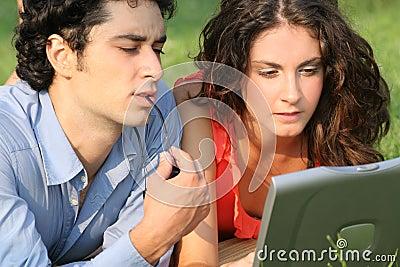 Laptop business couple