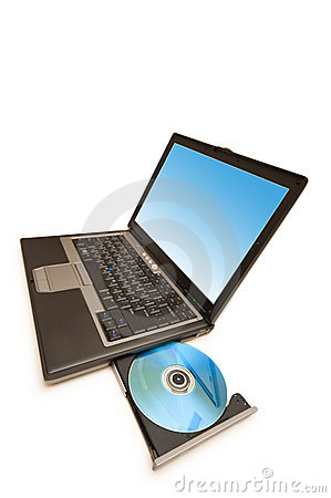 Laptop and cd drive isolated on the white