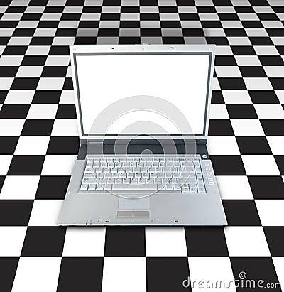 Laptop On Checker Board