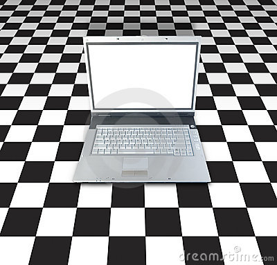 Laptop On Checker Board
