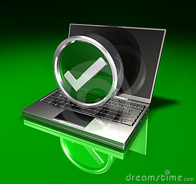 Laptop and Checkmark Symbol