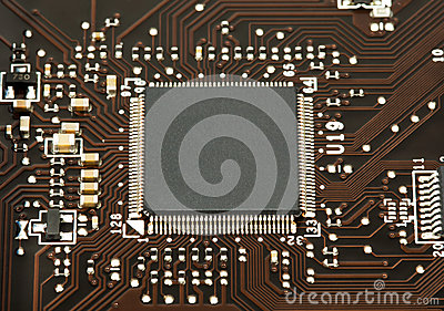 Laptop chip on mother board closeup