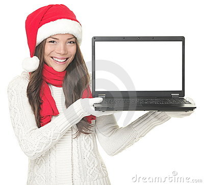 Laptop christmas woman