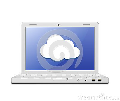 Laptop and cloud computing sign