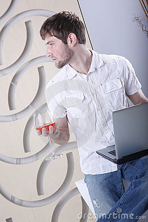 Laptop and cognac