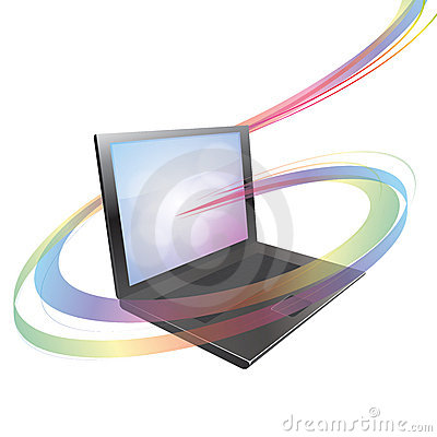 Laptop with colorful abstract swirl