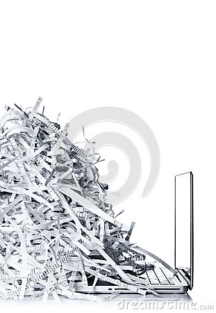Free Laptop Computer And Shredded Paper Royalty Free Stock Image - 36855546