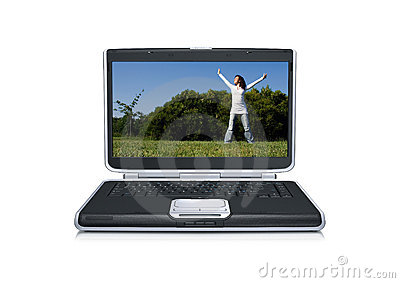 Laptop computer with a beautiful young girl alone