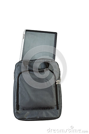 Laptop computer and carry case on white