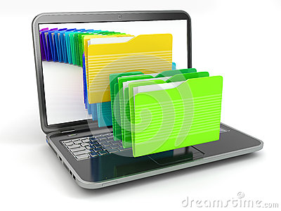 Laptop and computer files  in  folders.