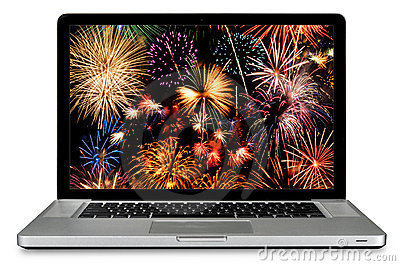 Laptop Computer With Fireworks on Screen