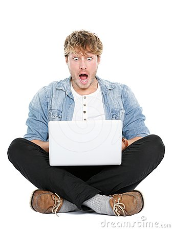 Laptop computer man shocked