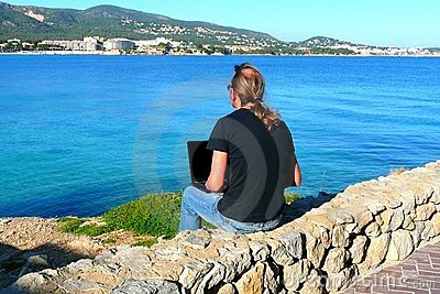 Laptop computer near the beach