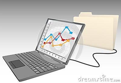 Laptop computer store database file folder